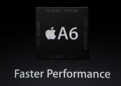 В последнем iPhone 5 новейший процессор А6 , дающий удвоенный прирост производительности